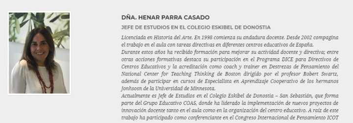 """HENAR PARRA, profesora de COAS, DARÁ LAS CLAVES PARA CONSTRUIR """"COLEGIOS CON PERSONALIDAD"""" EN EDUKETING"""
