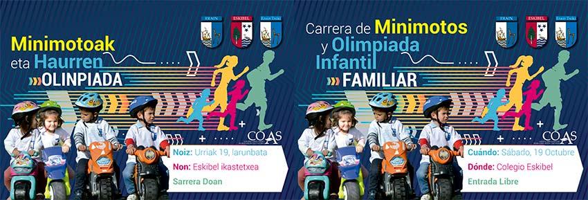 Carrera de Minimotos y Olimpiada Infantil Familiar en los colegios de Gipuzkoa