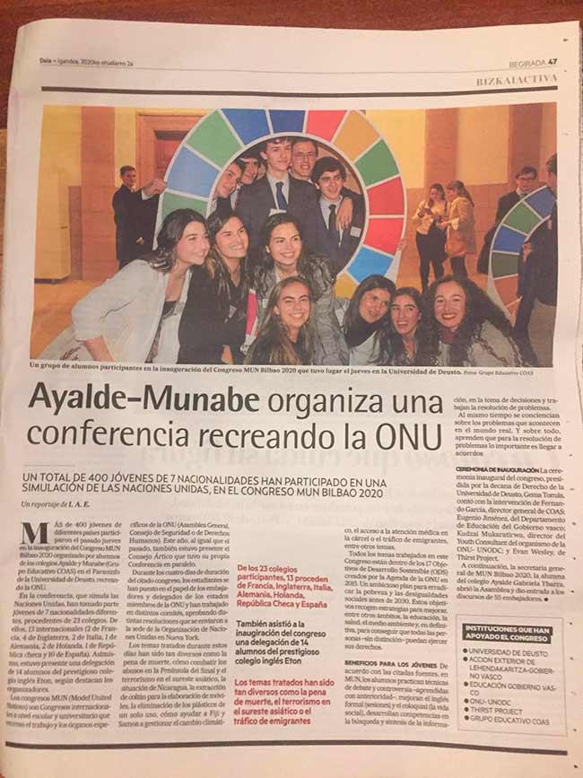 MUN Bilbao 2020 por Ayalde y Munabe en el Deia.