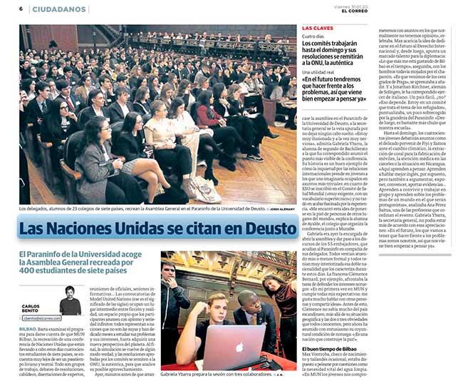 Congreso MUN Bilbao 2020 organizado por Ayalde y Munabe en El Correo.